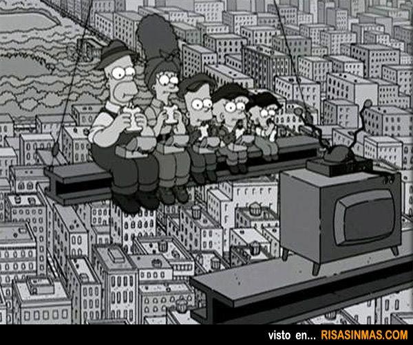 Almuerzo en lo alto de un rascacielos versión Los Simpson.