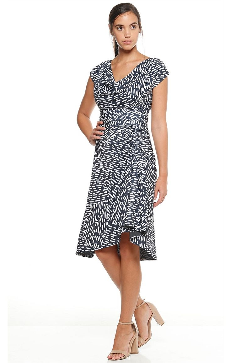 GHOST RANCH COWL NECK STRETCH JERSEY GATHERED SKIRT DRESS IN CHARCOAL IVORY PRINT
