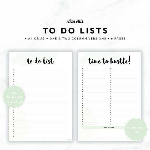 TO DO LISTS / To Do List Printable / 2017 Planner / Printable To Do Lists / To Do List / To Do / The Agatha Planners in Leaf / 415