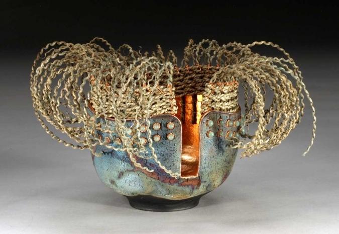 BANGS - raku, copper leaf/wire, dyed seagrass, aventurine beads - work by Marc Jenesel and Karaen Pierce