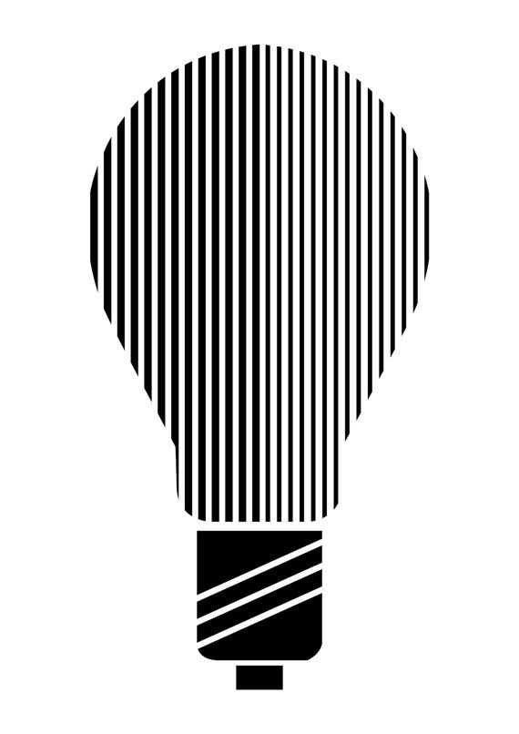 Graphical Black And White Illustration - Lightbulb Design - Original Illustration Art Poster Print - Available in A4, A3, A2By Made By Color on etsy (www.madebycolor.etsy.com). From $21.