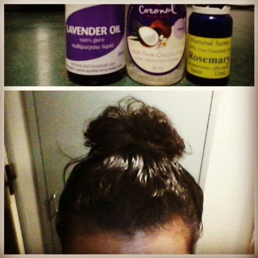 DIY Hair Oil Mask: 2 tbsp coconut oil, 10 drops rosemary essential oil, 10 drops lavender oil. Mix oil together and massage it into scalp for a few minutes. Make sure every strand of hair is covered and rub oil into the ends. Leave on overnight and rinse out with shampoo - there is no need for conditioner.