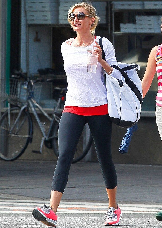 Healthy lifestyle: Cameron Diaz enjoyed a work-out with friends in New York City today