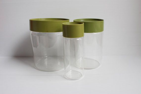 PYREX SEE N STORE,Vintage Pyrex Storage Canister,container with green lid,Vintage kitchenware,vintage glass container with lid,avocado green