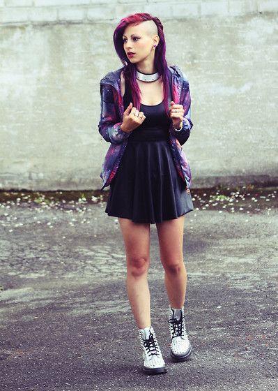 Silver Dr. Martens, Pull Purple Galaxy Jacket, Black Milk Clothing Wet Look Skater Dress, Zara Accessoire