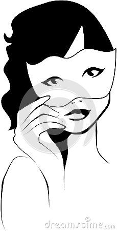 Vector illustration of a curly-haired woman who holds a white mask.