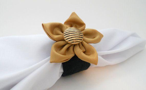 Black & Gold Wedding Napkin Rings New Orleans Saints Inspired