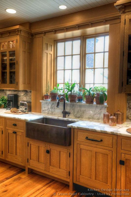 Mission Style Kitchen With Apron Front Sink   Wood Cabinets   Large Garden  Window