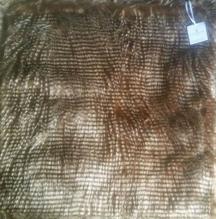 Williams Sonoma Faux Fur Pillow Cover Brown Owl Feather 22