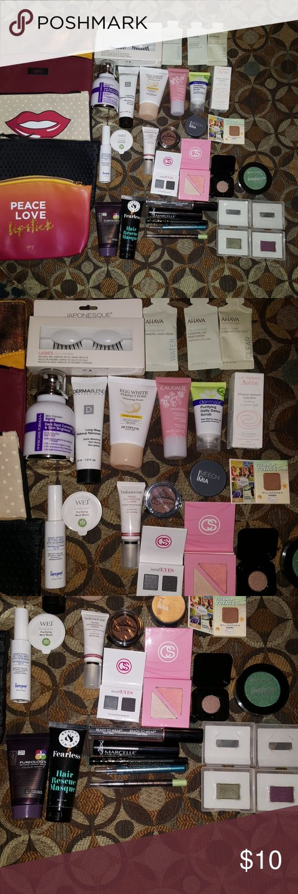 Beauty Bundle - Pick 6 for $10 * Comment below 5 Different Ipsy Bags/Fake lashes/3 pack Ahava products/Physicians Formula Darkspot corrector/Dermablend makeup remover/EggWhite pore control/Caudalie moisturizing sorbet/dermaE detox scrub/Avene moisture mask/Supergoop Setting mist/Wei mud mask/mPrincess eyeshadow Chesnut/Mercy&Mia loose shadow in shimmer coral/the balm eyeshadow/Coastal Scents in social eyes/Coastal Scents blush&bronzer duo/POP shadow/Shimmer shadow/Pureology Conditioning…