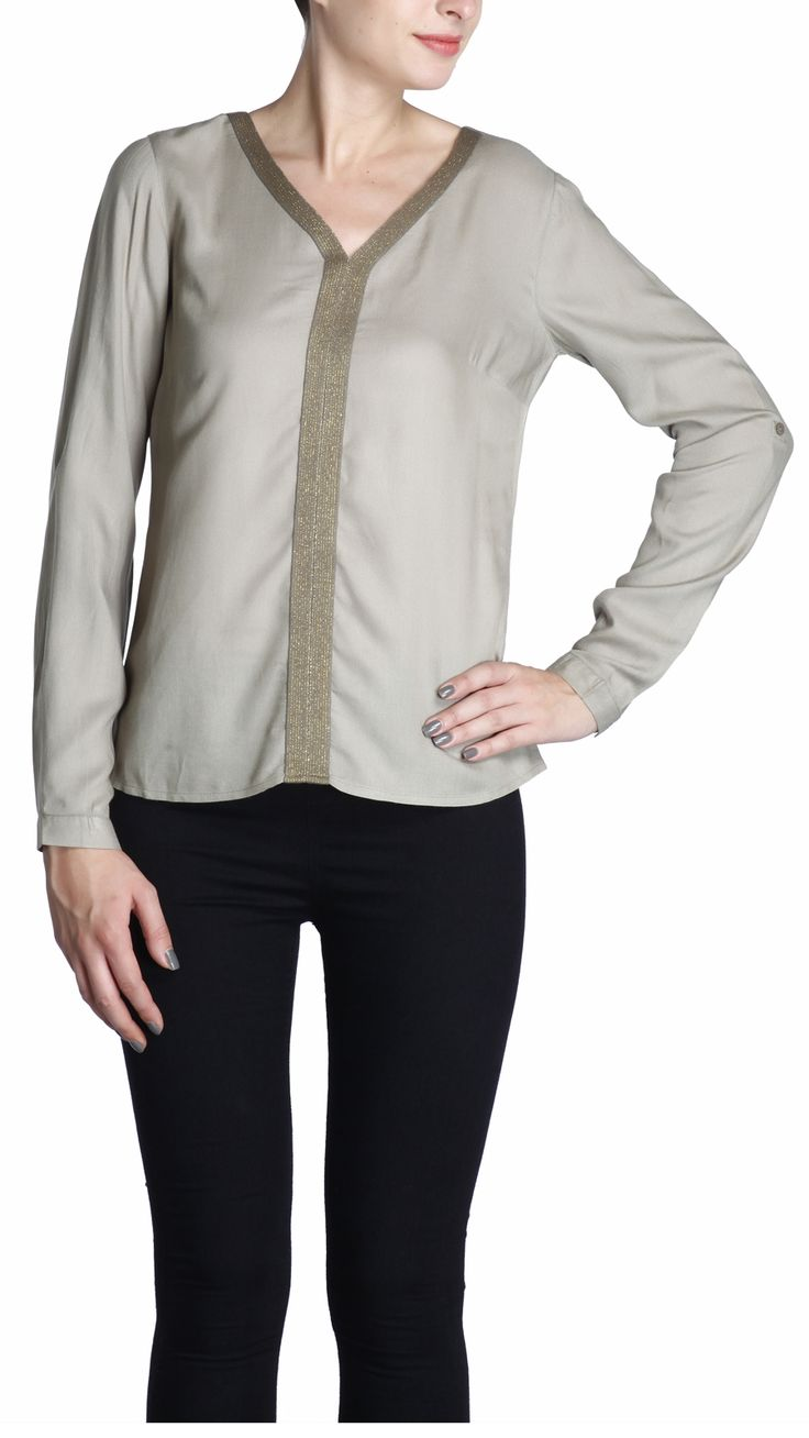Easy fit, full sleeve rayon top with lurex taped V neckline and front panel, perfect day to evening wear