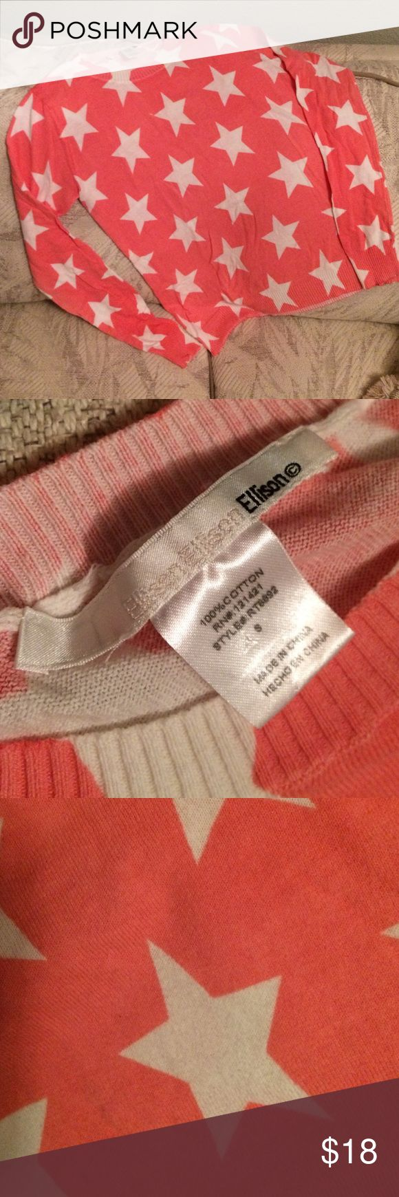 Lightweight 💯cotton sweater. Coral and white Star pattern light sweater that was gently loved, no flaws. Looks brand new. Ellison Sweaters Crew & Scoop Necks