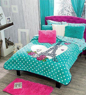Nuevo Aqua Turquesa Torre Eiffel, París Manta Polar tirar 1PC   Casa y jardín, Ropa de cama, Cobijas y mantas   eBay!