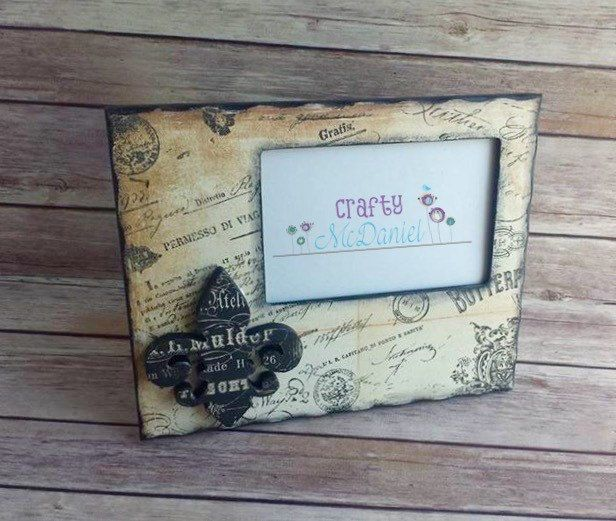 French print antique white picture frame fleur de lis  up cycled eco friendly READY TO SHIP - pinned by pin4etsy.com