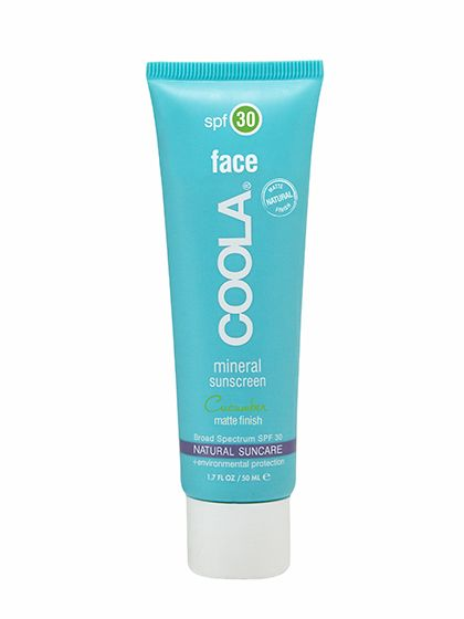 Coola Face SPF 30 Mineral Sunscreen Cucumber Matte Finish In addition to mineral sunscreen ingredients, this featherlight formula contains oil-absorbing silica, so its smooth, nonshiny finish lasts throughout the day (and wears especially well under makeup). Add in a fresh cucumber scent and some shea butter to moisturize, and it makes for one of the most enjoyable sunscreens you'll ever use.