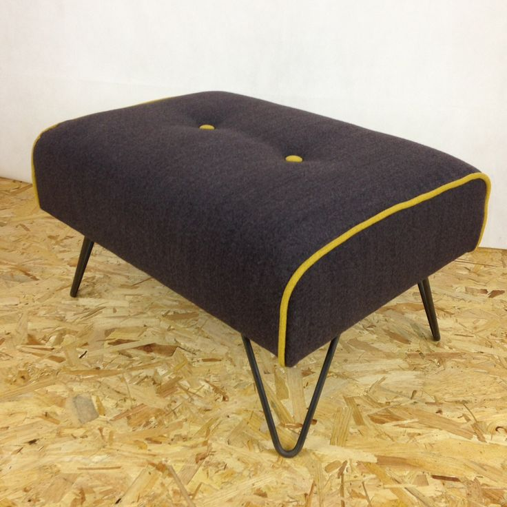 Handmade footstool, upholstered in grey wool fabric with yellow contrast piping finished off with hairpin legs