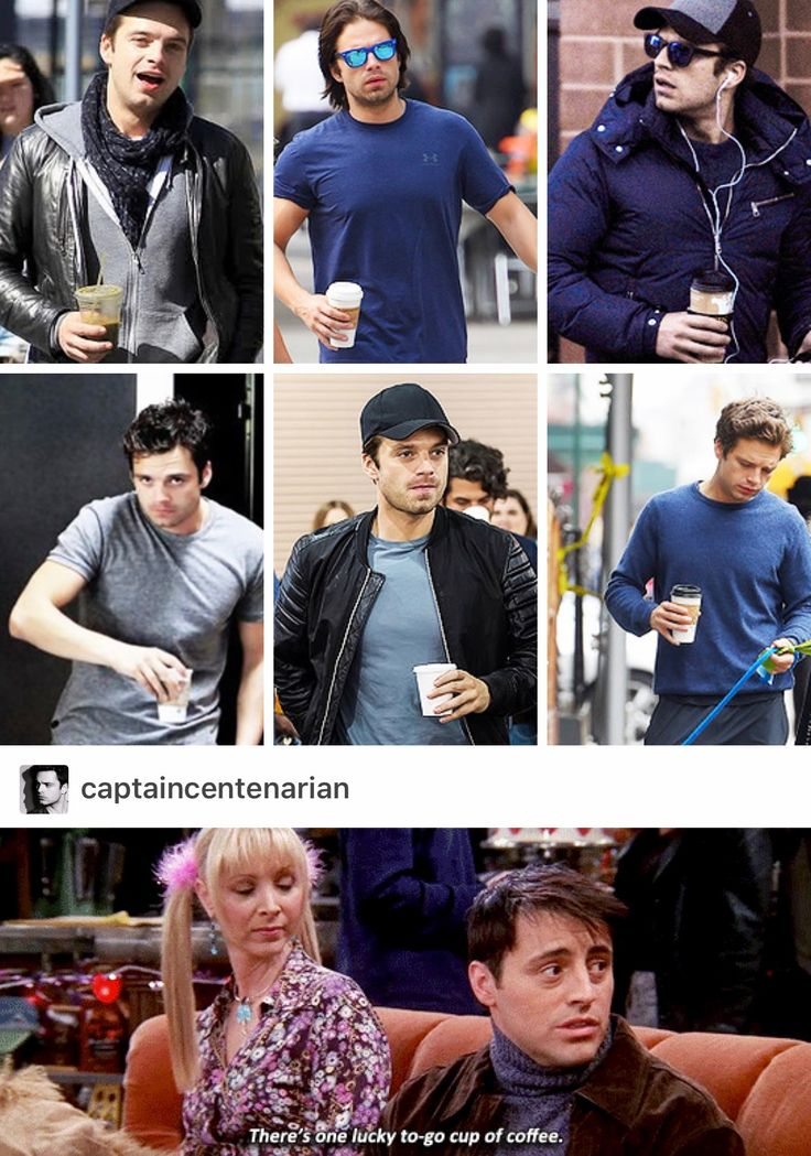 this is so great because it is some of my favorite things. Sebastian Stan. FRIENDS. Joey is my favorite male character. Phoebe is my favorite girl character. Coffee.