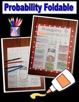 Included is a foldable on Probability.  This is a great study guide or graphic organizer for any grade level learning about Probability.  I have included step by step instructions that can be projected on the white board so that students can easily follow along.
