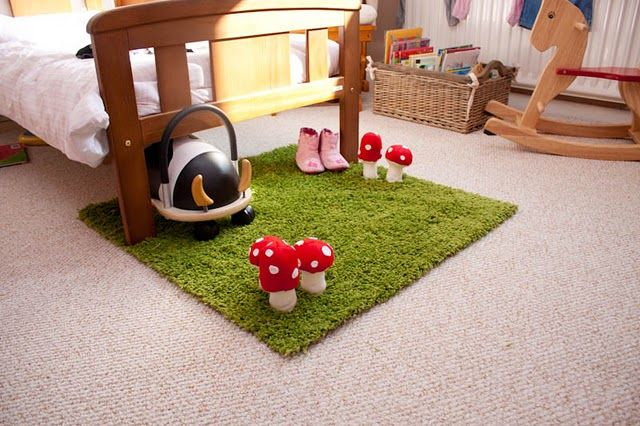 Ikea hacks woodland inspired rug kids playroom idea for Ikea grass rug