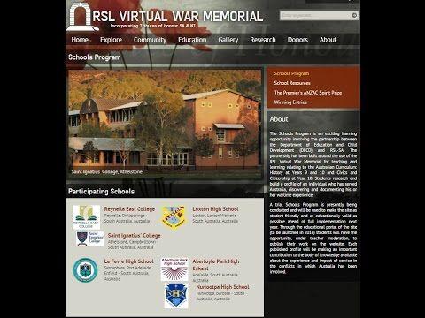RSL Virtual War Memorial Schools Program - YouTube
