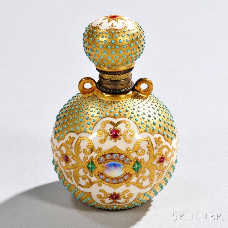 Jeweled Coalport Porcelain Perfume Bottle