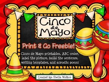 Celebrate Cinco de Mayo with your students with these fiesta themed no prep print and go FREEBIES! #cincodemayo #freebie #tpt #sheilamelton