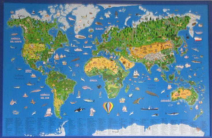 Mapamundi infantil didáctico en Corcho