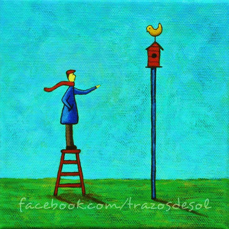 """""""Dame tu mano, vuela conmigo, seremos soledades y cuentos compartidos"""" - Alejandro Filio. Acrylic painting art . Acrilico sobre tela #danielponce #trazosdesol"""