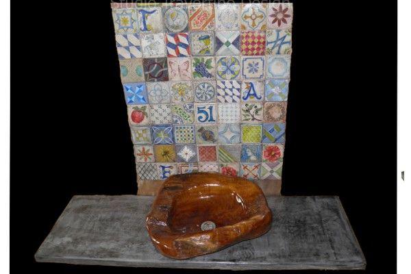 Handmade rustic bathroom furniture aged crete 85x50 washbasin bronzed 37x15  http://travertinodesign.gr/index.php/arxikh/eidh-ygieinhs/nipthres-mpanioy/-2014-06-14-11-25-40-detail