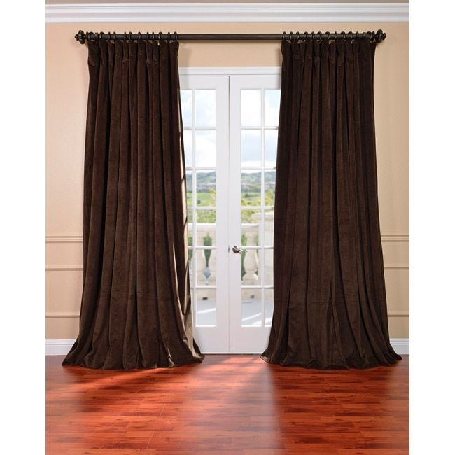 Exclusive Fabrics Java Velvet Blackout Extra Wide Curtain Panel (84-Inch), Brown, Size 100 x 84 (Cotton, Solid)