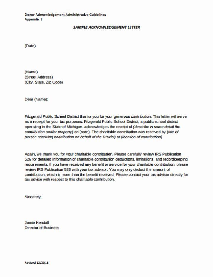 Donation Receipt Letter Template Elegant 11 Donor Acknowledgement Letter Templates Pdf Doc Letter Templates Donation Letter Template Printable Letter Templates