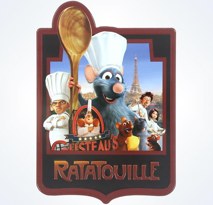 "Disney Parks Pixar Ratatouille Chef Remy Metal Plaque aluminum appr. 0.15"" x 5.85"" x 8.45"" New"