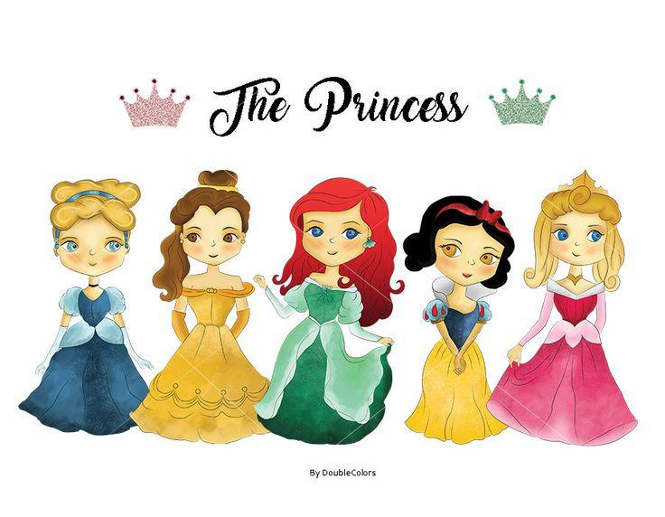 Princess clipart, png file. de DoubleColors en Etsy