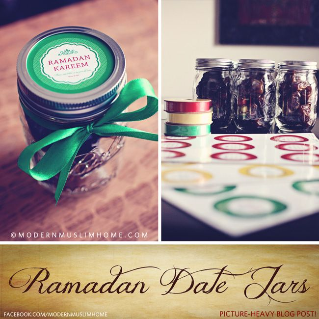 "Ramadan Date Jars! A super sweet way to share your Ramadan excitement with those you love while asking them to make du'aa for you. Win-win. Free ""Ramadan Kareem"" label available for download as well! 