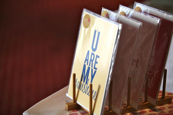 dish drying racks are great for displaying cards upright ~ Matildas Market