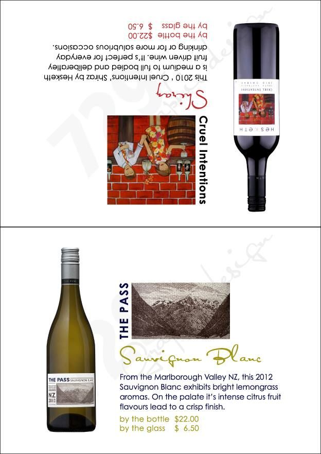 Tent Cards for restaurant #winelist #729 https://www.facebook.com/729graphicdesign