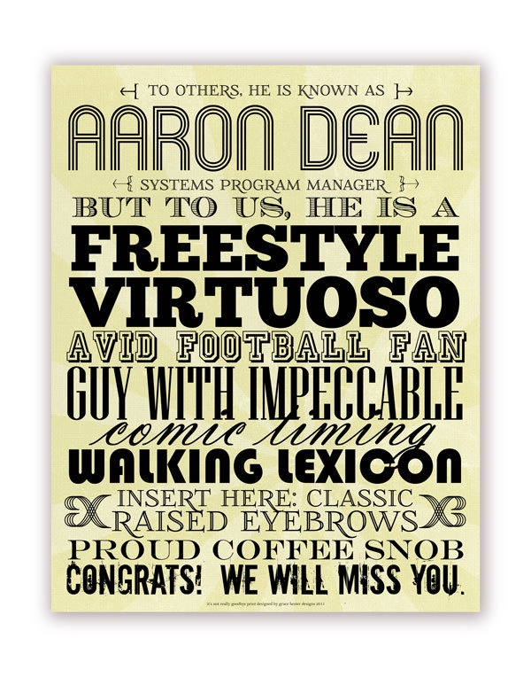 Office Farewell Gift for Colleague or Boss - Typography Describing Traits - 11 X 14, Yellow. $60.00, via Etsy.