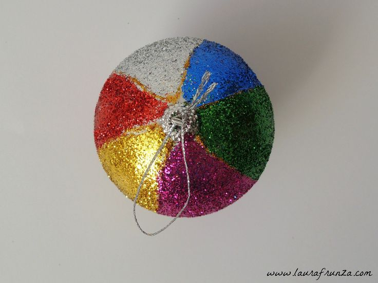styrofoam bauble with coloured glitter