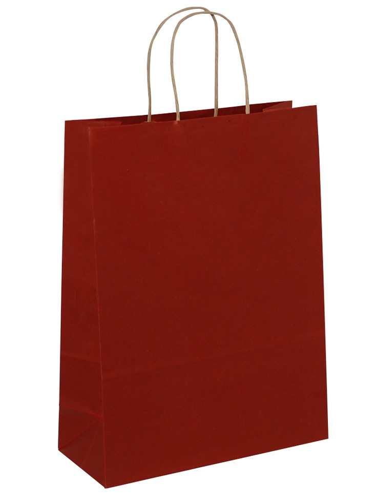 Brown Carrier Bag Twisted Handle - Solid Red