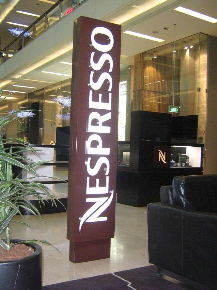 Cunneen Signs- Nespresso;  Pylon illuminated light box sign
