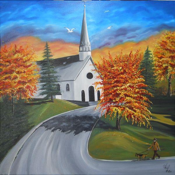 Église de N-D-de-Pontmain, Huile sur toile www.helenelatour.com