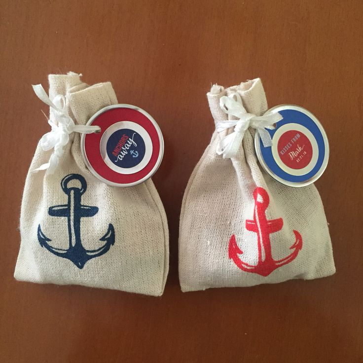 "Favors for nautical themed baby shower. Little sacs from Oriental Trading and perosonalized labels. ""Kisses from baby!"""