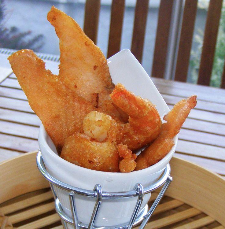 Pâte #tempura pour #crevettes et chips de #saumon #fumé - Farine Grillée Blouin #entrée #encas