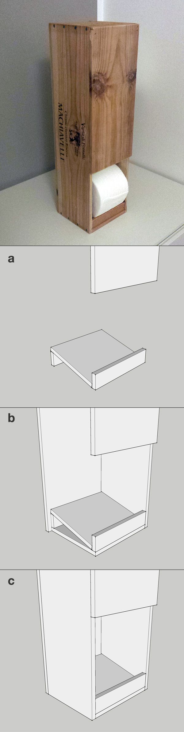 Toilet paper rolls dispenser. Cut the cover of a wine wooden box and glue the base (a) inside it (b). Here you have a nice dispenser that holds four rolls (c).