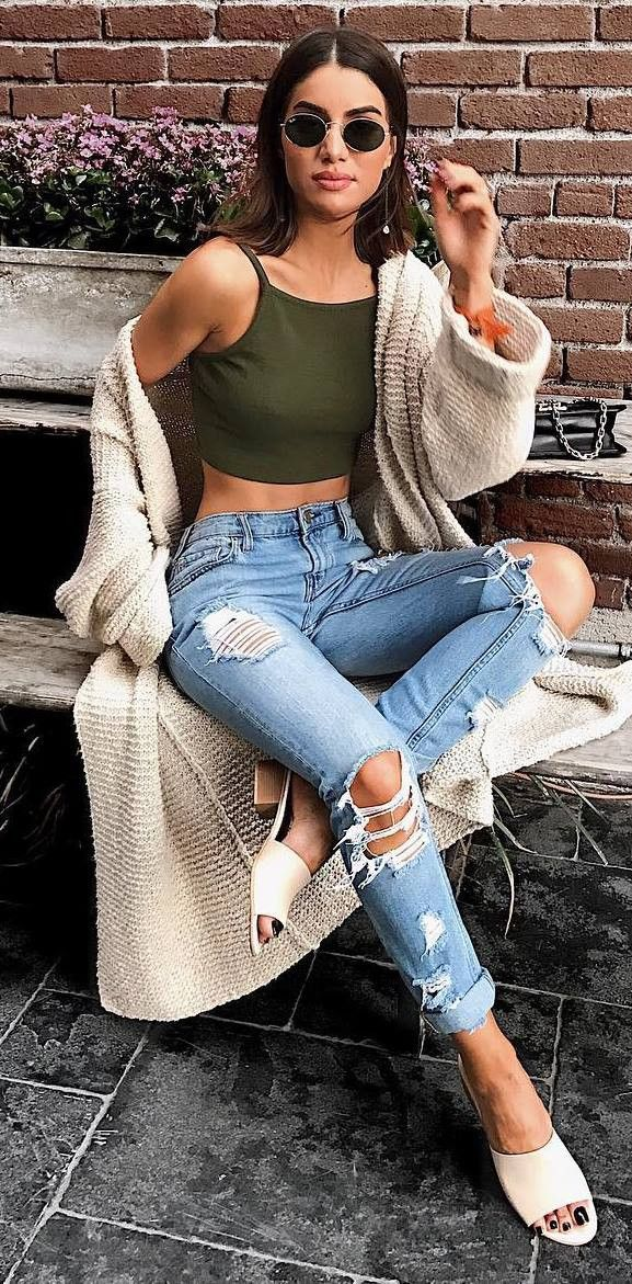 what to wear with a knit cardigan : top + ripped jeans + shoes