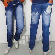 Kosmo Lupo Herren Jeans Designer Hose Chino-Style Blau Verwaschen Clubwear NEU