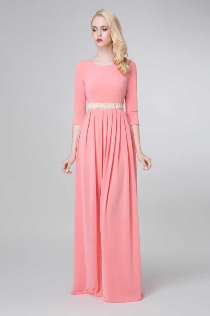SADONI evening dress ZARA in soft coral jersey