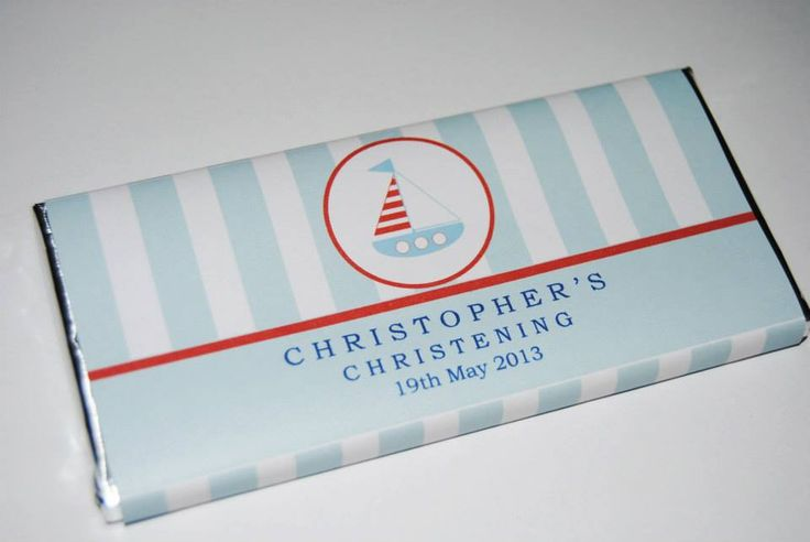 Nautical theme : Personalised chocolate favours designed by COCO AVENUE
