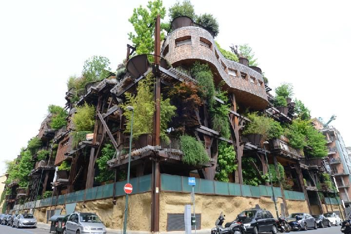 今回紹介する「25 GREEN」という集合住宅は、イタリア・トリノ市の中心部から南側、ポー川に近い住宅街にある。屋上や壁面を緑化したマンションは最近でこそ珍しくなくなったが、この住宅はパテオから屋上、テラスに至るまで緑の木々で覆いつくされている。