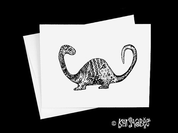 Dinosaur Note Cards Dino Notecards by karmabee on Etsy